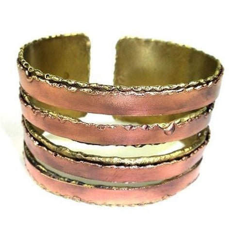 Brass and Copper Organic Cuff - Brass Images (C)