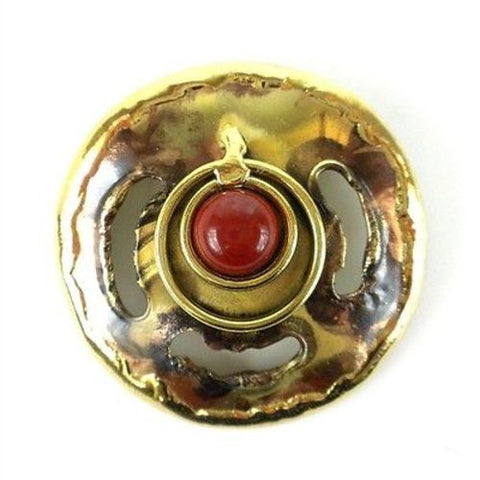Earths Core Red Jasper Brooch - Brass Images (O)