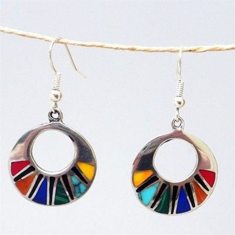 Mosaic Flat Hoop Earrings - Artisana