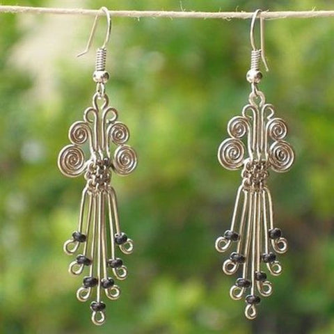 Silverplated Legacy Earrings with Black Beads - Zakali Creations
