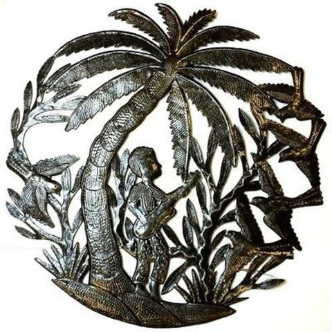 24 inch Metal Art Guitarist Under a Palm Tree - Croix des Bouquets