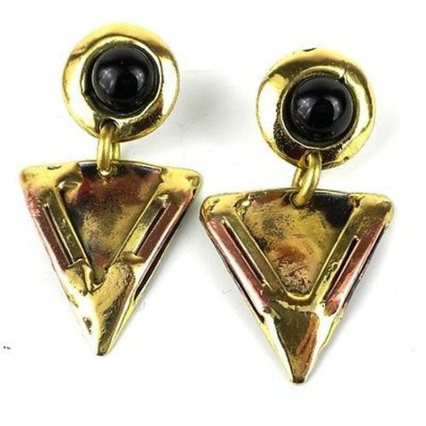 Onyx Triangle Brass Post Earrings - Brass Images (N)