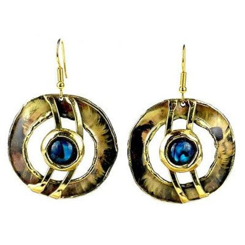 Paua Shell Ripple Effect Brass Earrings - Brass Images (E)