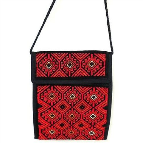 Nahuala Silky Passport Wallet in Red - Maya Traditions (B)