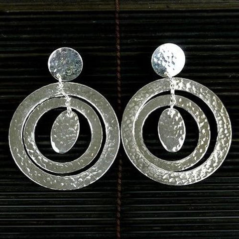 Large Silverplated Concentric Circles Post Earrings - Artisana