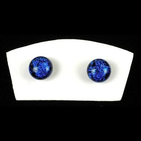 Handmade Large Dichroic Glass Studs in Midnight Blue - Tili Glass