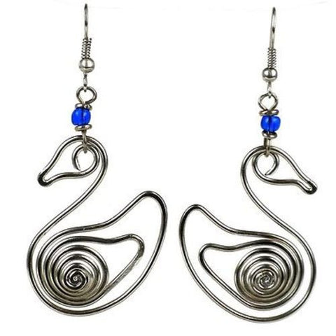 Handmade Silver Plated Wire Duck Earrings - Zakali Creations