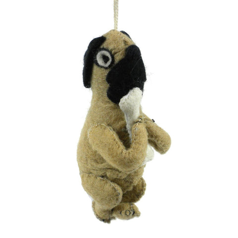 Felt Pug Dog Ornament - Silk Road Bazaar (O)