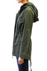 Lightweight Hooded Utility Anorak Jacket (Olive)