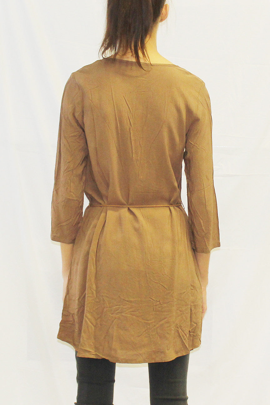 3/4 Sleeve Tunic with Tie Leather Cord Belt (Forest / Navy / Toffee / Black)
