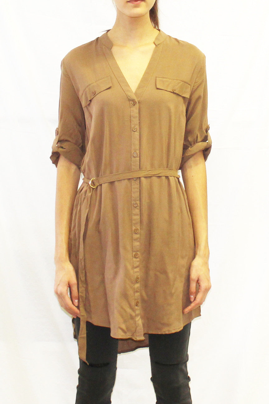 Roll Sleeve Collarless Button Front Tunic (Black / Wine / Olive / Toffee)