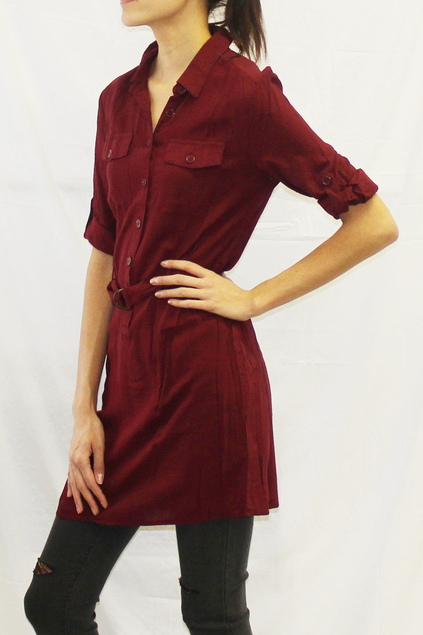 Roll Sleeve Collared Half-Button Tunic (Wine / Black / Toffee / Forest)