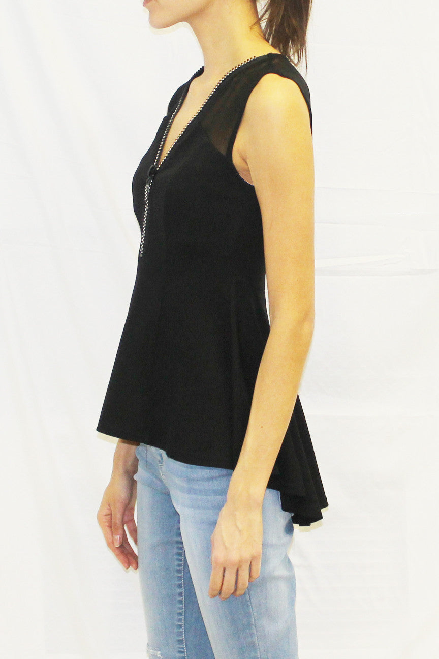 Sleeveless High Low V-Neck Blouse (Black)