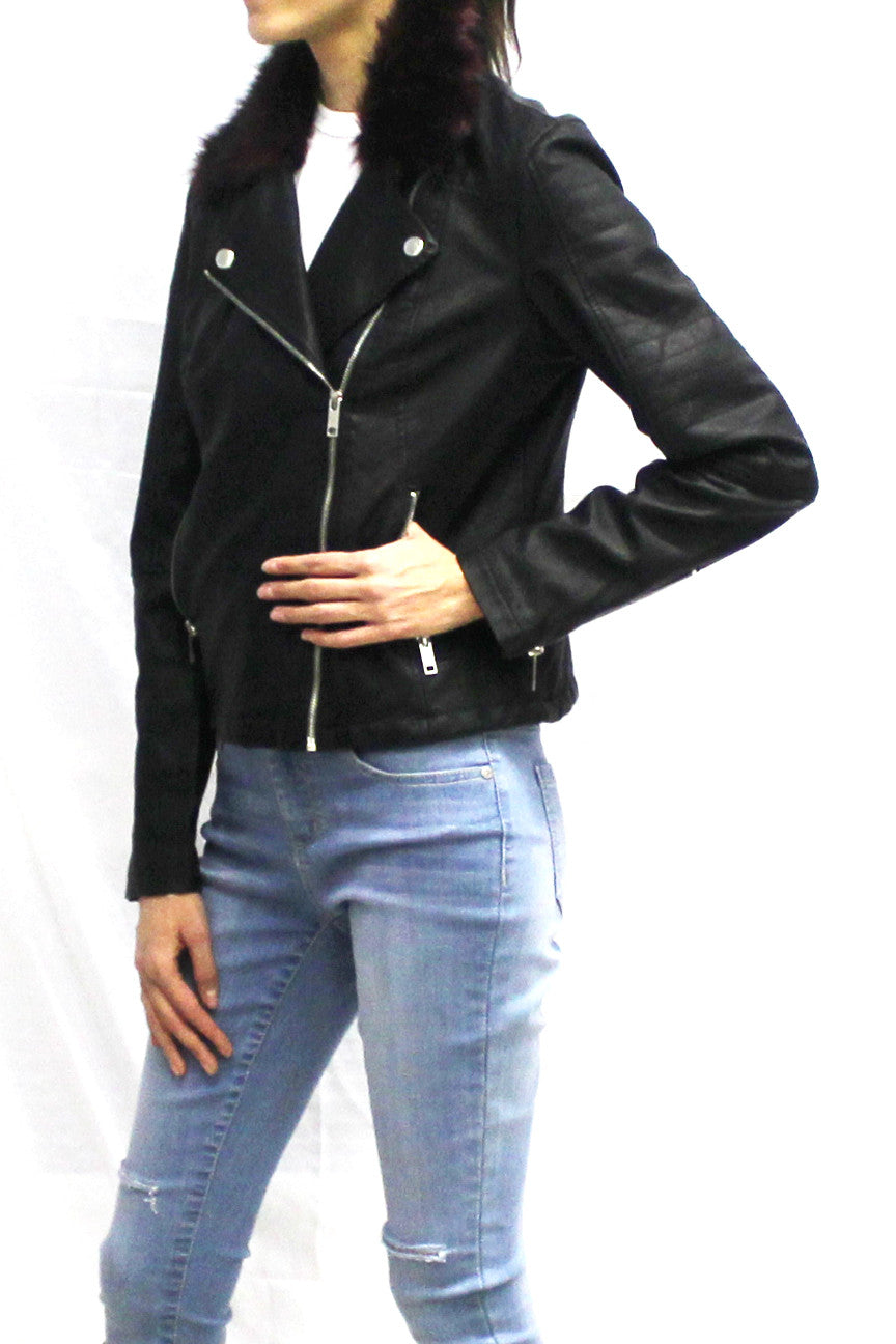 Faux Leather Biker Jacket with Faux Fur Collar