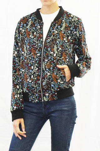 Fairytale Floral Print Lightweight Bomber Jacket
