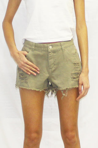 Destructed Twill Cutoff Shorts