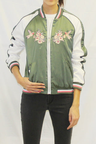 Lightweight Embroidered Bomber Jacket