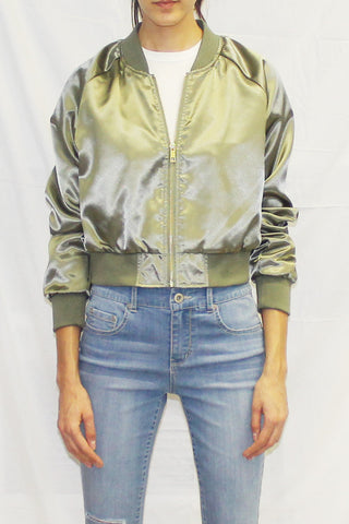Silky Lightweight Bomber Jacket (Olive / Mauve / Red)