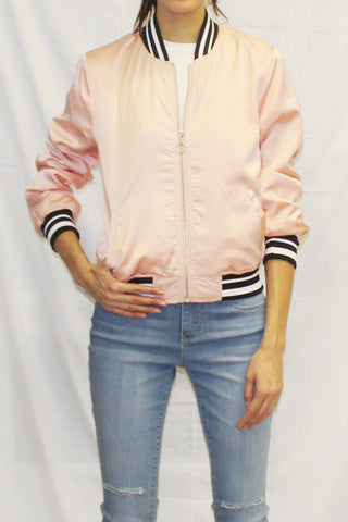 Lightweight Bomber Jacket (Pink / White)