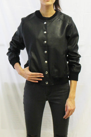 Faux Leather Button Front Bomber Jacket
