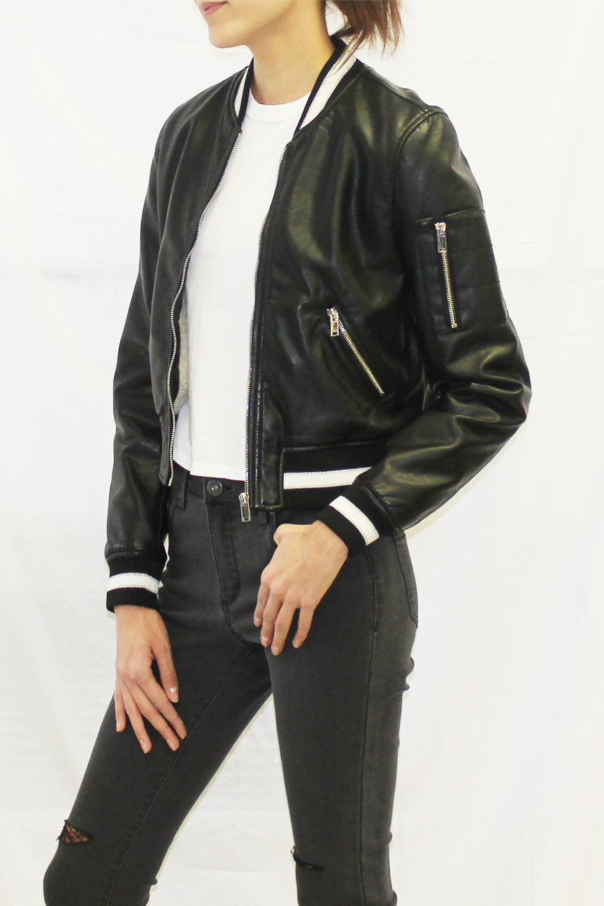 Faux Leather Bomber Jacket with Varsity Stripe Ribknit (Black)