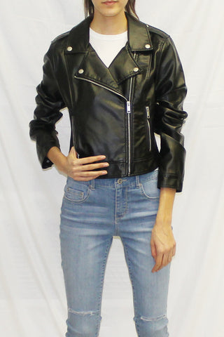 Faux Leather Moto Biker Jacket