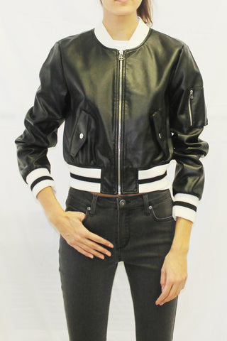 Faux Leather Bomber Jacket (Black / White)