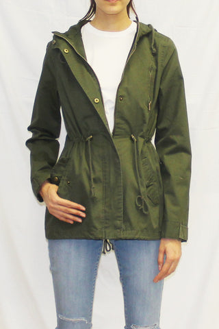 Lightweight Hooded Anorak Utility Jacket (Olive)