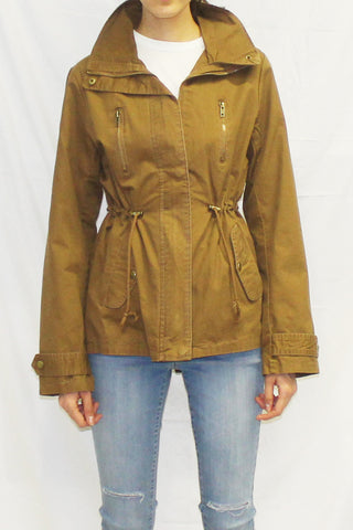 Lightweight Stand Collar Utility Anorak Jacket (Brown)
