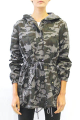 Camo Hooded Anorak Jacket with Cuffed Sleeves