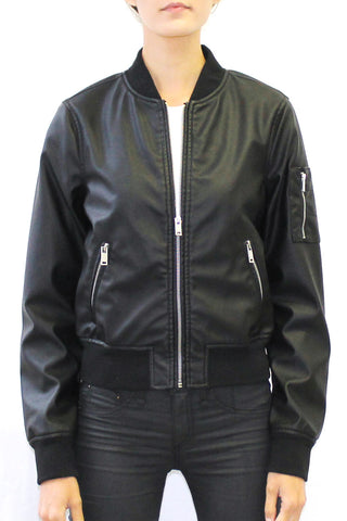 Faux Leather Classic Bomber Jacket