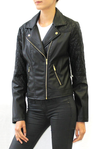 Quilted Moto Biker Faux Leather Jacket