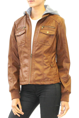Hooded Faux Leather Jacket (Cognac, Black)