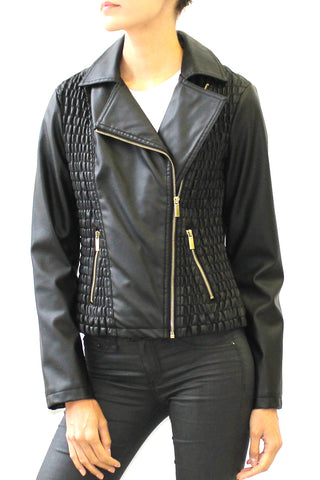 Ruched Faux Leather Moto Biker Jacket