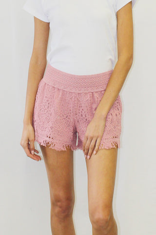 High-Waisted Crochet / Lace Overlay Shorts
