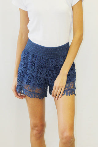 Crochet Overlay Shorts with Lace Trim