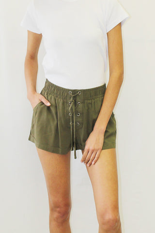 Lace-Up Challis Shorts (Black, Olive, Khaki, Mauve)