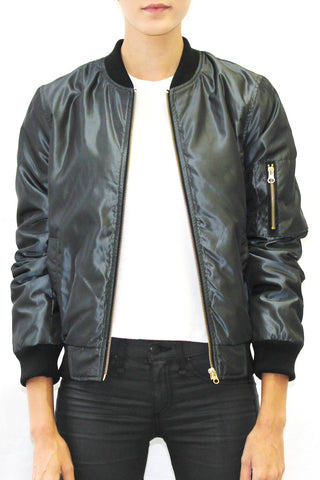 Shiny Bomber Jacket with Diamond Quilted Lining