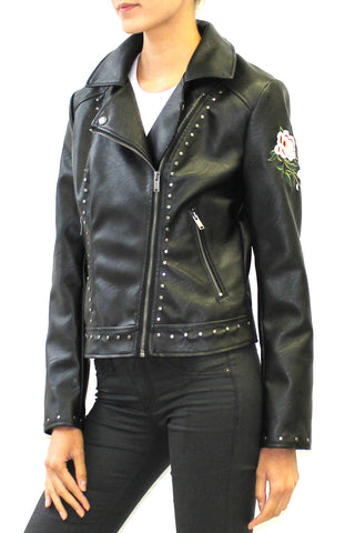 Studded Embroidered Faux Leather Moto Jacket