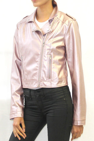 Metallic Faux Leather Moto Jacket (Rose Gold or Silver)