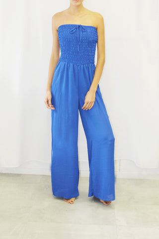 Smocked Top Strapless Jumpsuit