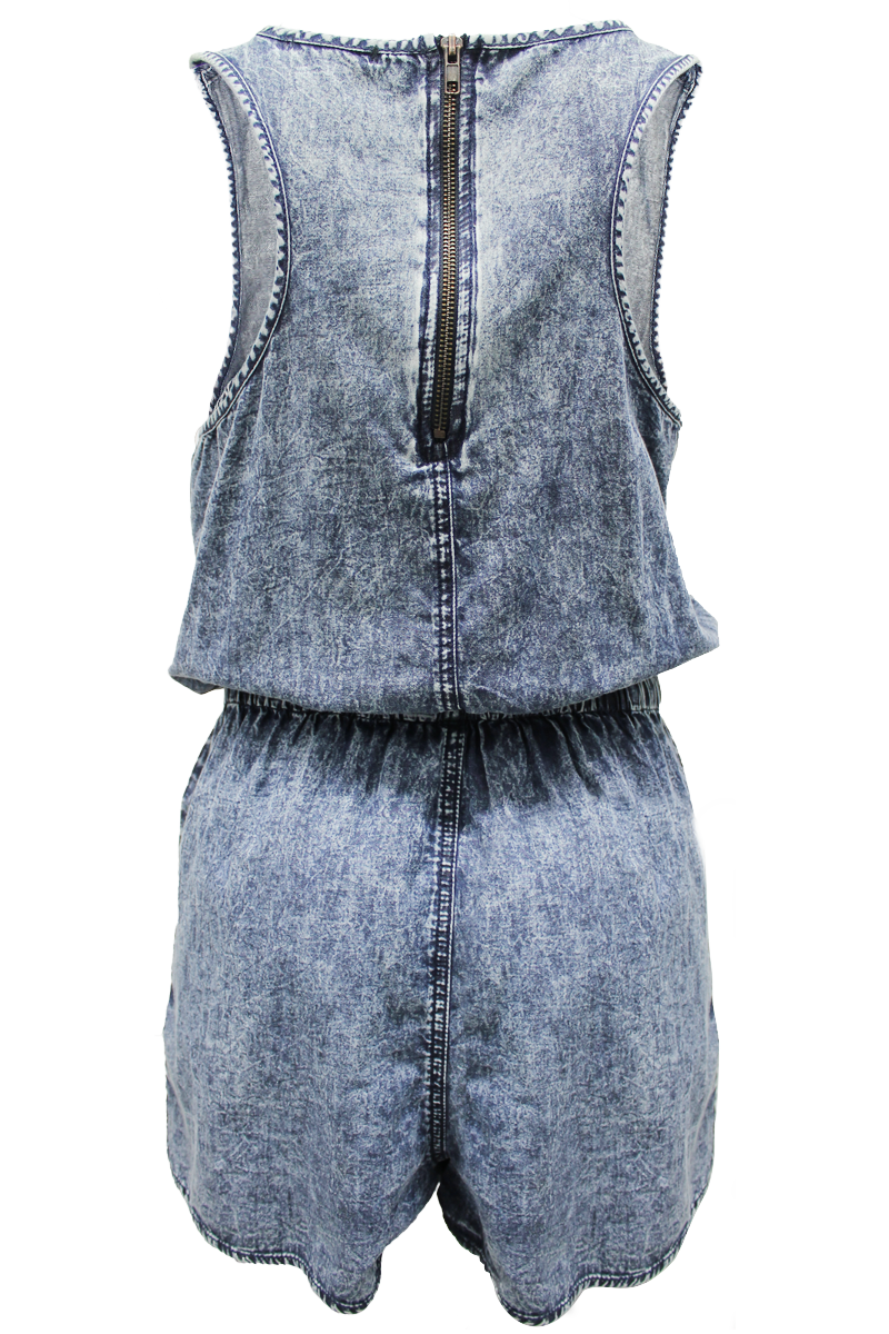 Sleeveless Denim Romper - New Look - 2