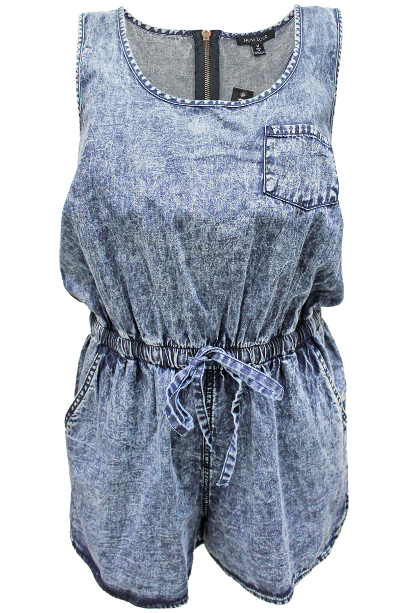 Sleeveless Denim Romper - New Look - 1