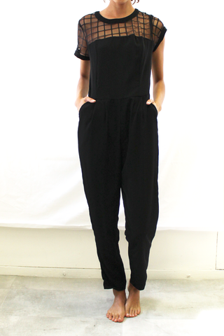 Day-to-Night Jumpsuit with Mesh Panel Detail Top