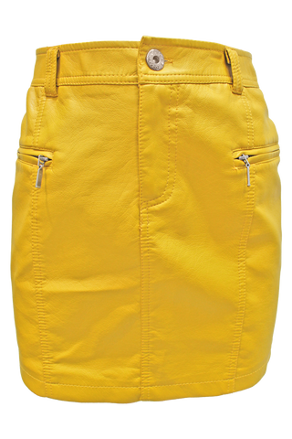 Faux Leather Pencil Skirt - mustard