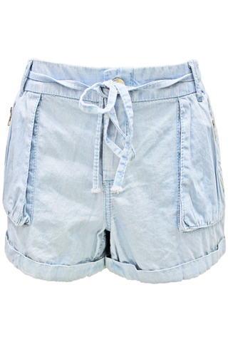 Tie Front Denim Shorts (Light Wash)