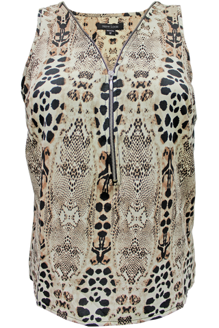printed zipper tank animal print
