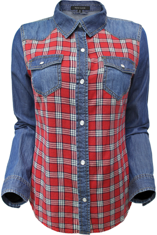 plaid front chambray
