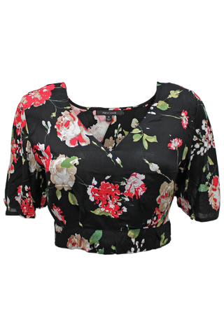 printed crop top black floral