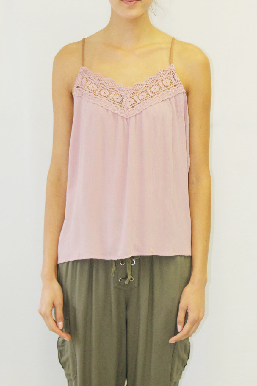 Lace Top Camisole with Braided Straps (Mauve, Ivory, Navy)